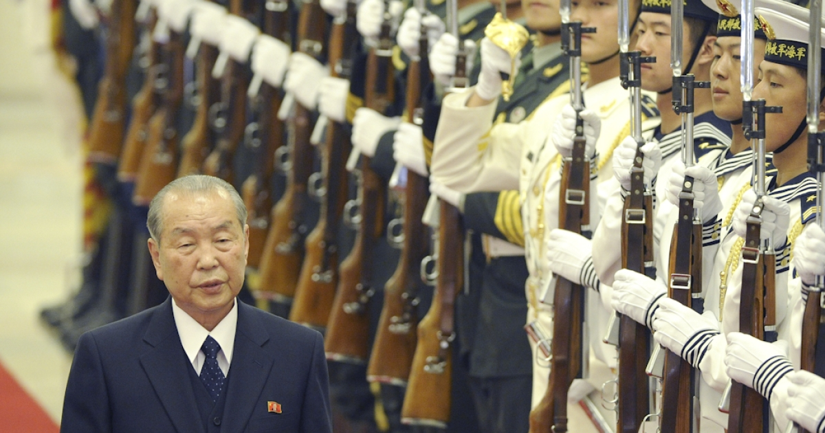 North Korean Prime Minister Choe Yong-Rim reviews a military honor guard during a welcoming ceremony at the Great Hall of the People in Beijing on September 26, 2011. North Korea's prime minister is visiting just weeks after leader Kim Jong-Il made his latest trip to the North's closest ally.</p>
