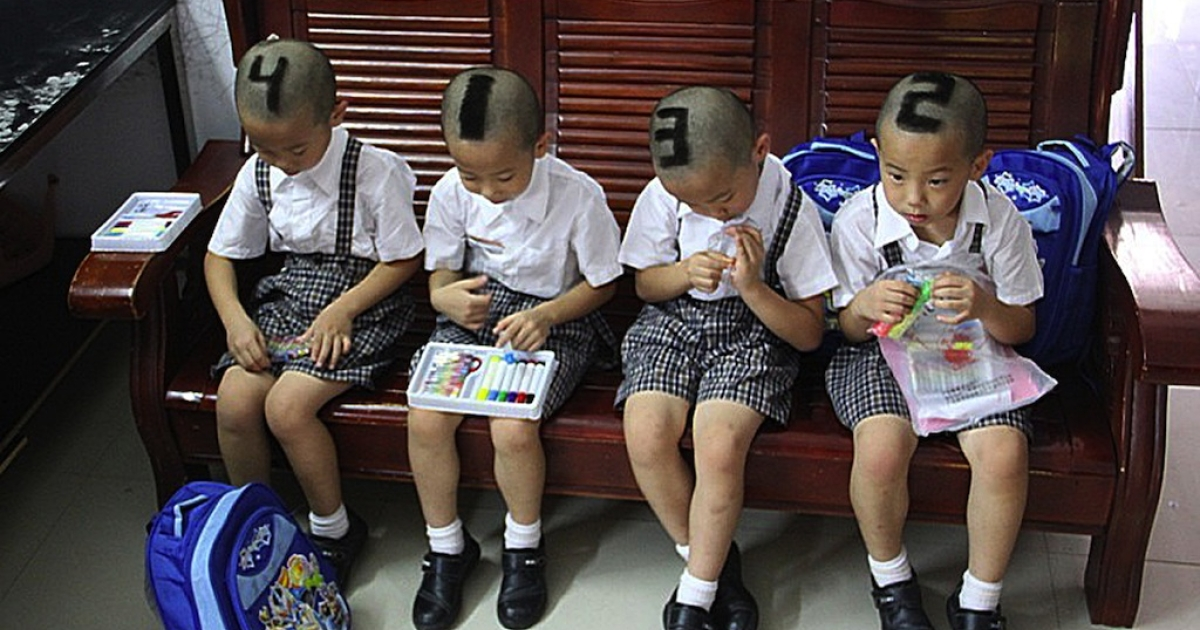 Six-year-old quadruplets in China had the numbers 1, 2, 3, 4 shaved into their hair so their teachers could tell them apart.</p>