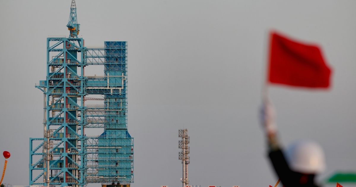A Long March 2F rocket carrying the country's first space laboratory module Tiangong 1 being prepared for lift-off from the Jiuquan Satellite Launch Center on September 29, 2011 in Jiuquan, Gansu province of China.</p>