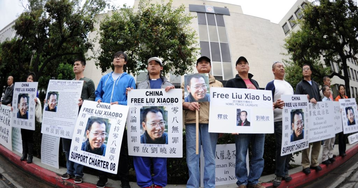 Protesters outside the Chinese consulate in Los Angeles in December 2010, demanding the release of jailed Nobel Peace laureate Liu Xiaobo. It is not known what Thursday's protest was about.</p>