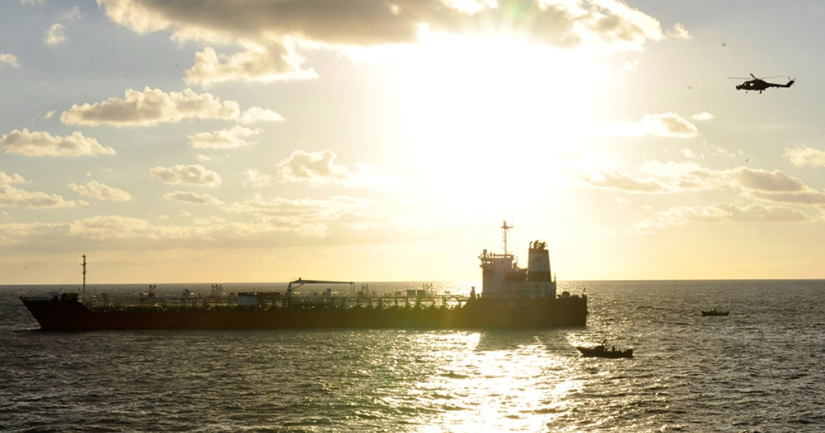 A South Korean freighter that was raided by Somali pirates in January, 2011 on the Arabian Sea. Pirates hijacked a Chinese freighter on April 6, 2012 in the Gulf of Oman, and the Iranian navy shadowed the vessel.</p>