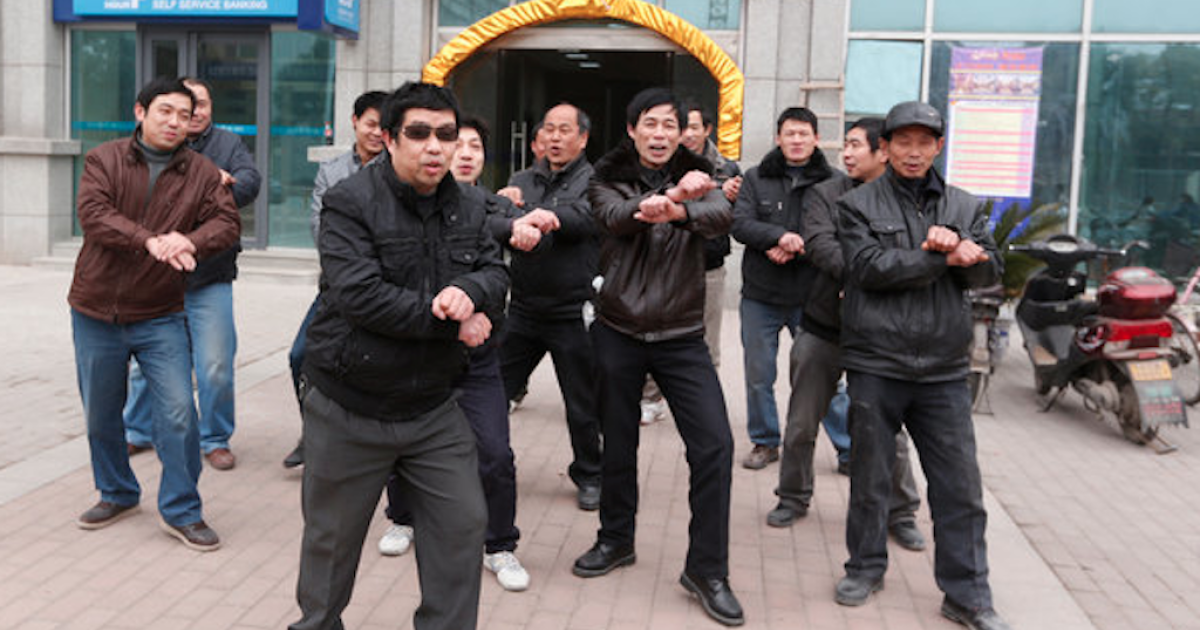 Chinese 'Gangnam Style' protest.</p>
