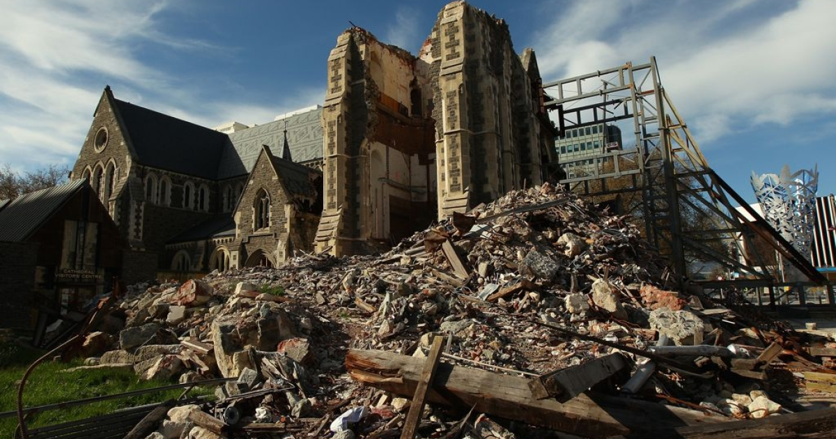 Christchurch Cathedral, seven months after the Feb. 22, 2011 earthquake that snapped its iconic spire in two and caused severe structural damage.</p>