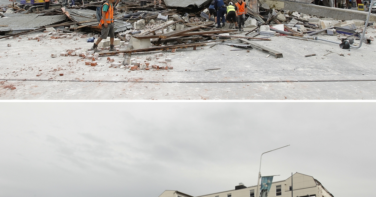 Rescue workers search for survivors through the debris on February 22, 2011 in Christchurch, New Zealand. The 6.3 magnitude earthquake - an aftershock of the 7.1 magnitude quake on September 4 - struck 20km southeast of Christchurch at around 1 p.m. local time.</p>