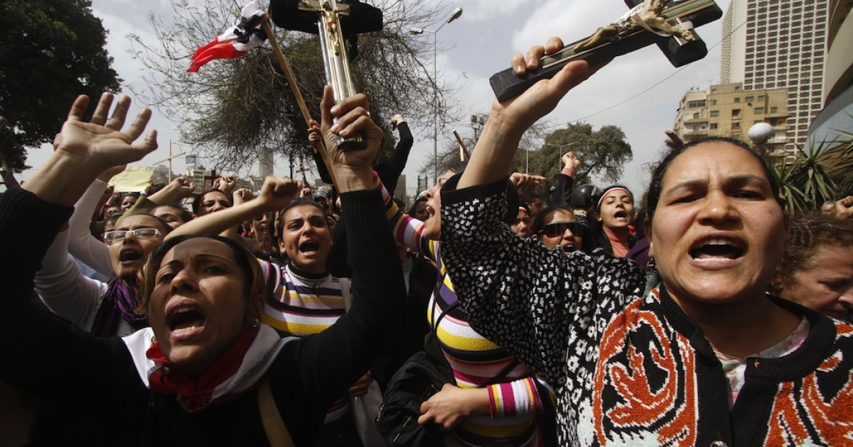 Egyptian Coptic Christians demonstrate outside the state radio and television building in Cairo on March 8, 2011, to protest the burning of a church last week.</p>