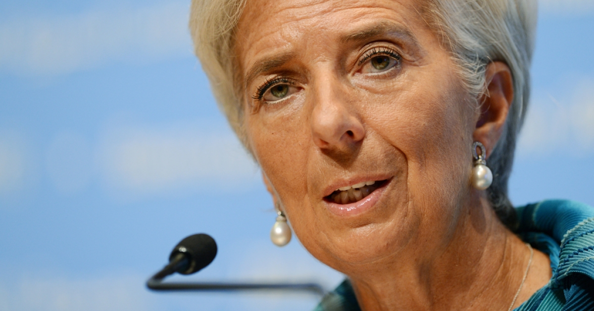IMF managing director Christine Lagarde answers questions at a press conference during the annual meetings of the IMF and the World Bank in Tokyo on Oct. 11, 2012.</p>