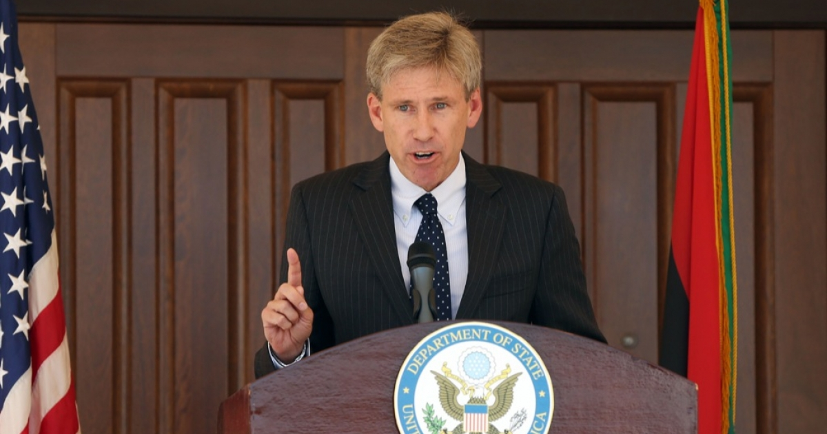 US ambassador to Libya Chris Stevens gives a speech on August 26, 2012 at the US embassy in Tripoli.</p>