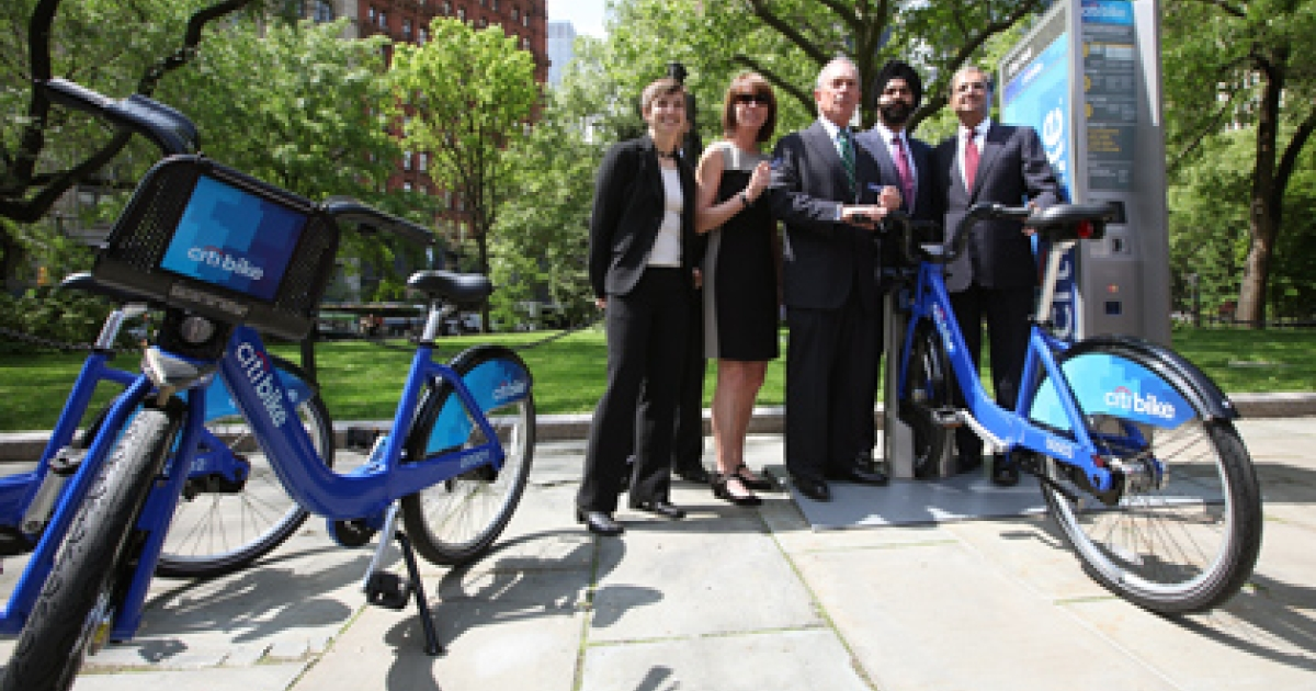 "Mayor Michael Bloomberg, NYC Dept. of Transportation Commissioner Janette Sadik-Khan and Citi CEO Vikram Pandit announced that Citi will be the title sponsor for New York City's new bike share program, ""Citi Bike,"" on May 7, 2012.</p>"