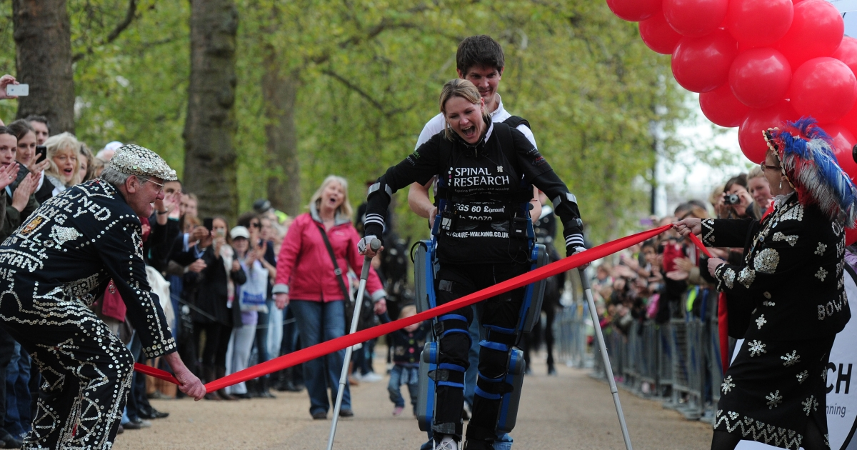 Claire Lomas, who is paralysed and walks with the aid of a 'bionic' suit, finishes the London Marathon on May 8, 2012,</p>