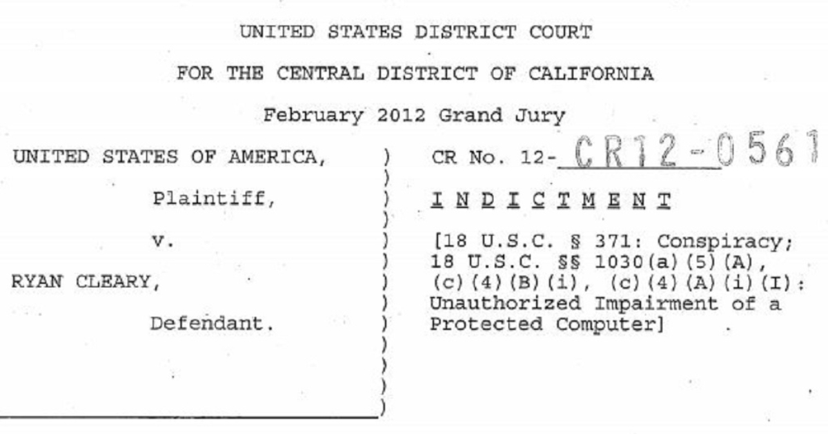 Ryan Cleary's indictment, filed in February in Los Angeles County.</p>