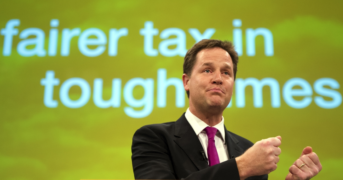 Nick Clegg at the Lib Dem conference this week: Some believe he won't lead his party into the next elections.</p>