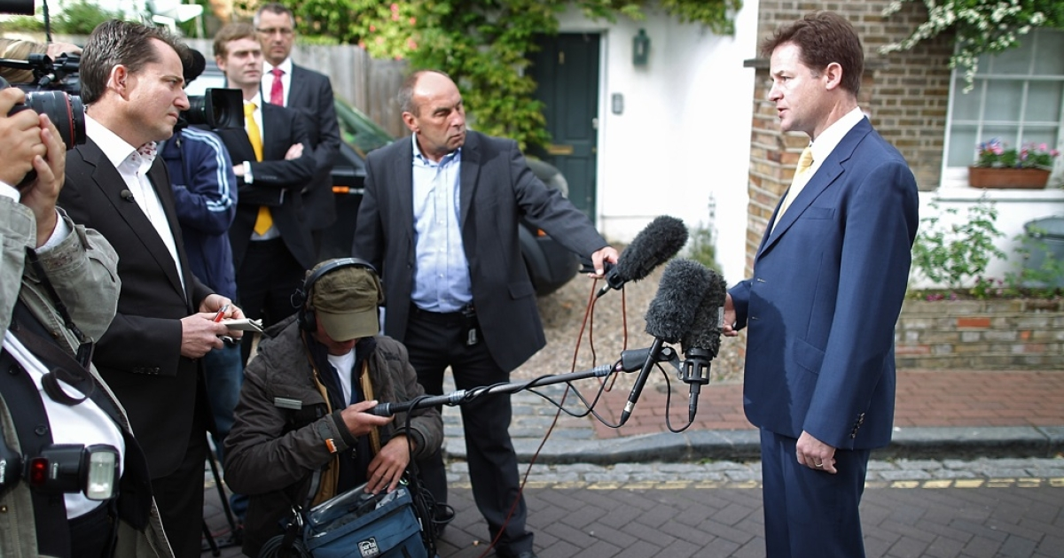 Liberal Democrat party leader Nick Clegg speaks to reporters outside his house on May 6, 2011 in London, England. The Liberals have suffered losses in the local elections held yesterday.</p>