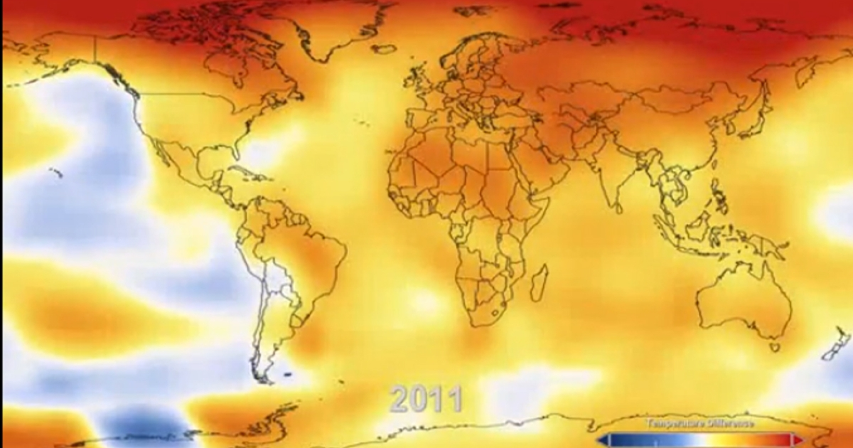 A screengrab of 2011's global warming patterns from NASA's Goddard Institute video.</p>