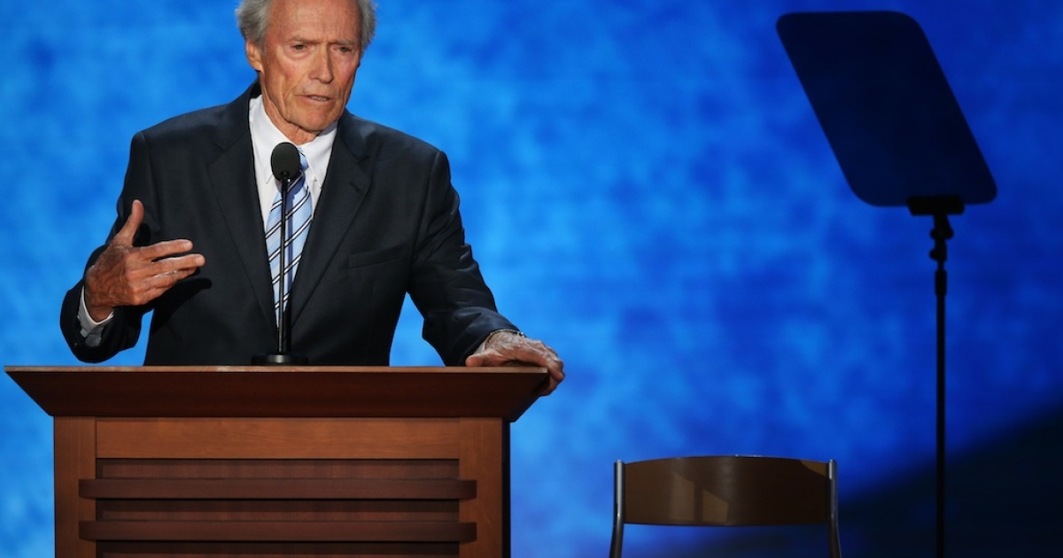 Actor Clint Eastwood speaks to an an imaginary President Obama sitting on an empty chair during the final day of the Republican National Convention at the Tampa Bay Times Forum on Aug. 30, 2012 in Tampa, Florida.</p>