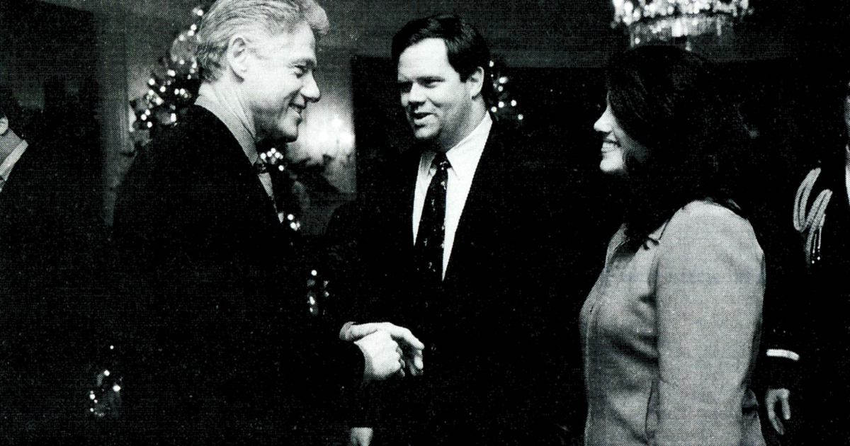 A photograph showing former White House intern Monica Lewinsky meeting President Bill Clinton at a White House Christmas party December 16, 1996 submitted as evidence in documents by the Starr investigation and released by the House Judicary committee September 21, 1998.</p>