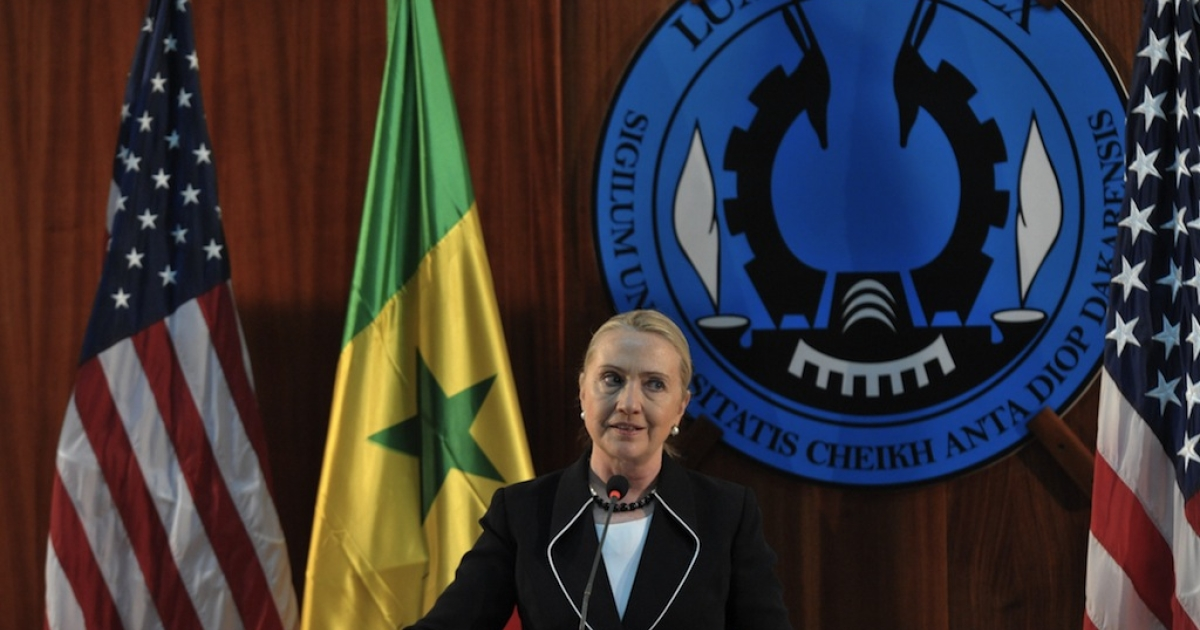 US Secretary of State Hillary Clinton speaks during a press conference at Dakar University, on August 1, 2012, after meeting the Senegalese President. US Secretary of State Hillary Clinton hailed Senegal as a democratic beacon in Africa today as she began an 11-day whirl around the continent that will focus on peace, security and development.</p>