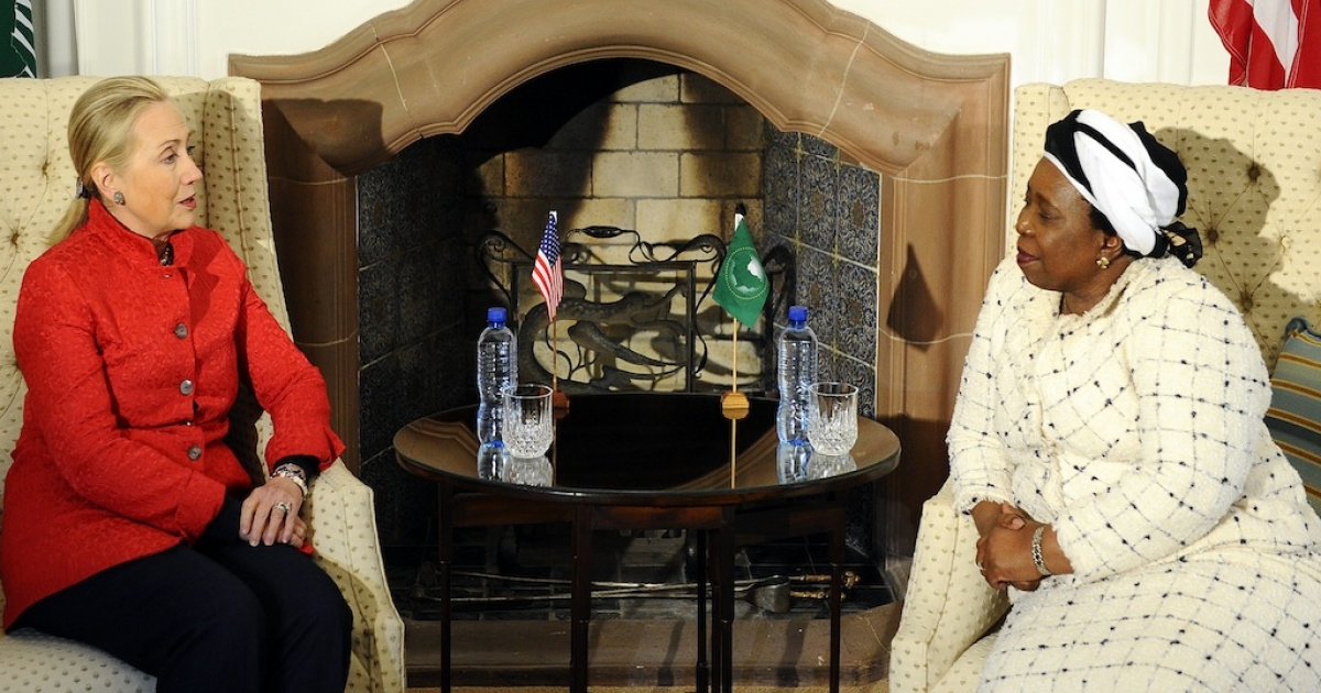 Hillary Clinton meets with the chairperson of the African Union Commission, South Africa's Nkosazana Dlamini-Zuma at the presidential guesthouse in Pretoria. Clinton spoke about all kinds of things during her stop in South Africa, but hasn't mentioned the one thing human rights groups are calling for her action on – controversial information legislation.</p>