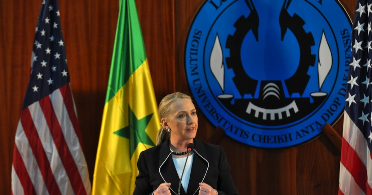 US Secretary of State Hillary Clinton spoke during a press conference at Dakar University in Senegal on August 1, 2012, as she began an 11-day trip in Africa focusing on peace, security and development.</p>