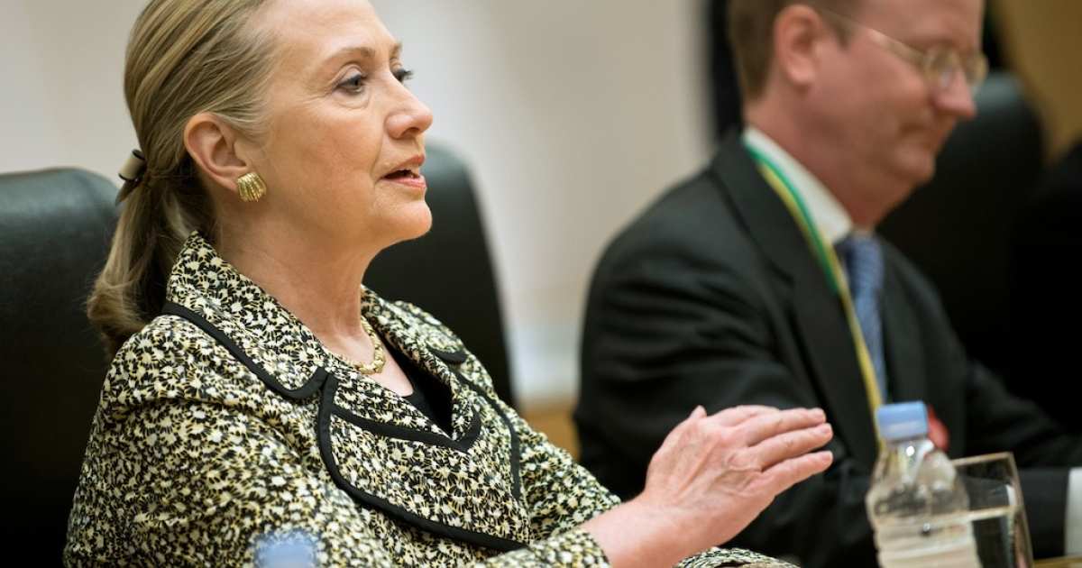US Secretary of State Hillary Clinton speaks during a bilateral meeting with Japanese Prime Minister Yoshihiko Noda (not pictured) at the Prince Park Tower Hotel Center in Tokyo on July 8, 2012. Clinton is in Japan to meet with leaders and attend a one-day conference on Afghanistan where representatives from nations will discus raising aid for Afghanistan.</p>