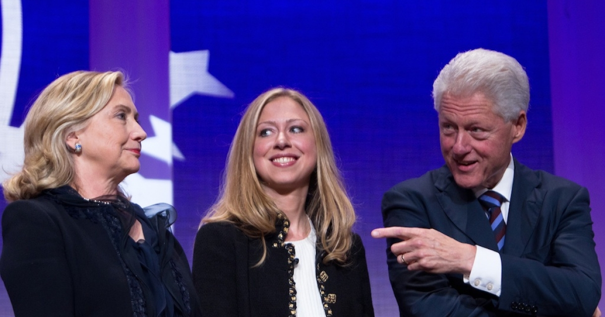Another Clinton in the White House? Chelsea Clinton stands with her parents, former US President Bill Clinton and US Secretary of State Hillary Clinton, at the seventh annual meeting of the Clinton Global Initiative at the Sheraton New York Hotel on September 22, 2011.</p>