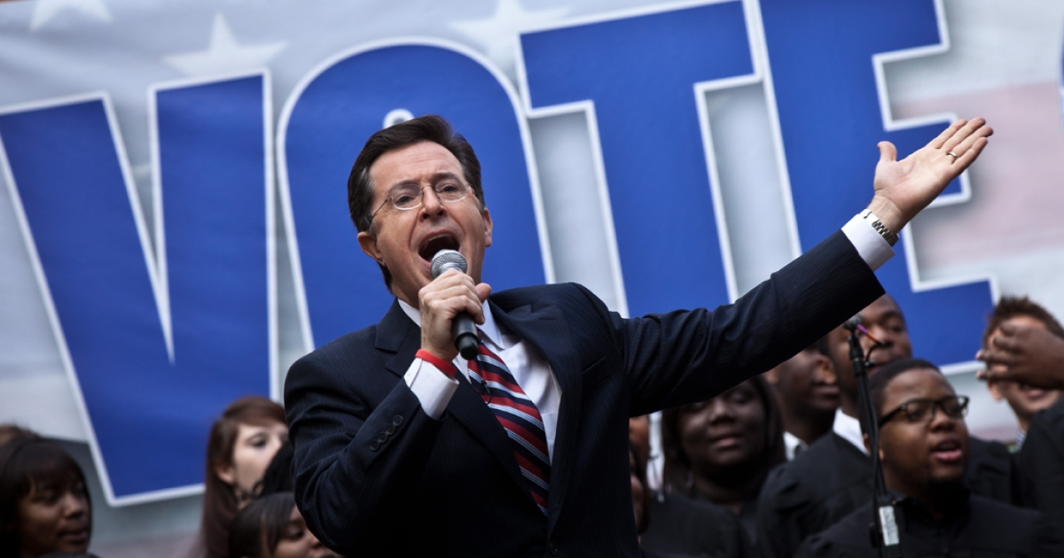 Comedian Stephen Colbert hosts a rally with former Republican presidential candidate Herman Cain at the College of Charleston on January 20, 2012 in Charleston, South Carolina. Colbert held the event with Cain, titled