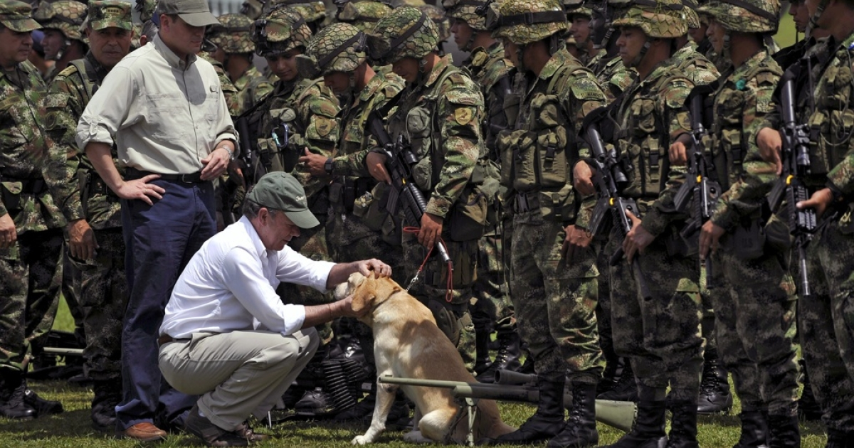 Colombian President Juan Manuel Santos pets Onix, a sniffer-dog, next to Colombia's Defense Minister Juan Carlos Pinzo (L), in Popayan, Colombia, on Nov. 5, 2011. The top leader of the Revolutionary Armed Forces of Colombia (FARC), Guillermo Leon Saenz Vargas, a.k.a. 'Alfonso Cano', was killed Friday during a military operation.</p>