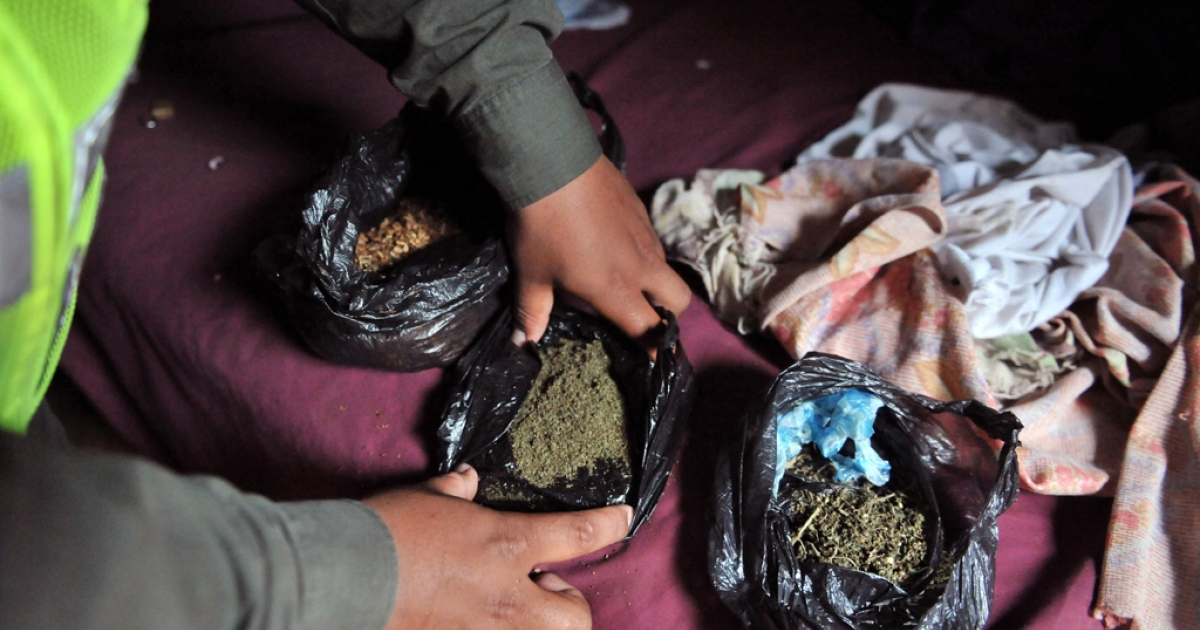 A Colombian police officer shows bags with marijuana seized during raids in Cali, Valle del Cauca department, Colombia, on March 9, 2012.</p>
