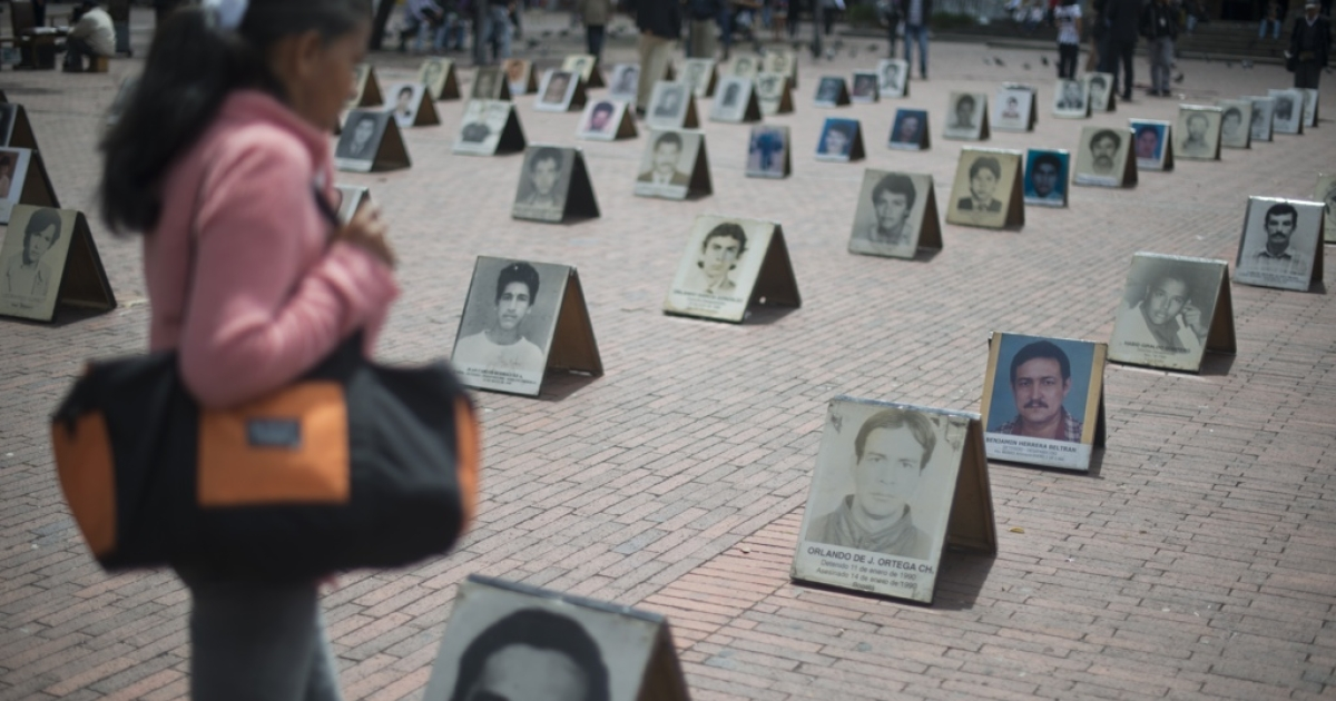 An outdoor exhibit marks International Day of the Disappeared in Bogota, on Aug. 30. According to the United Nations there are more than 57,200 missing people in Colombia in the last 30 years, more than 15,000 are considered victims of enforced disappearance.</p>