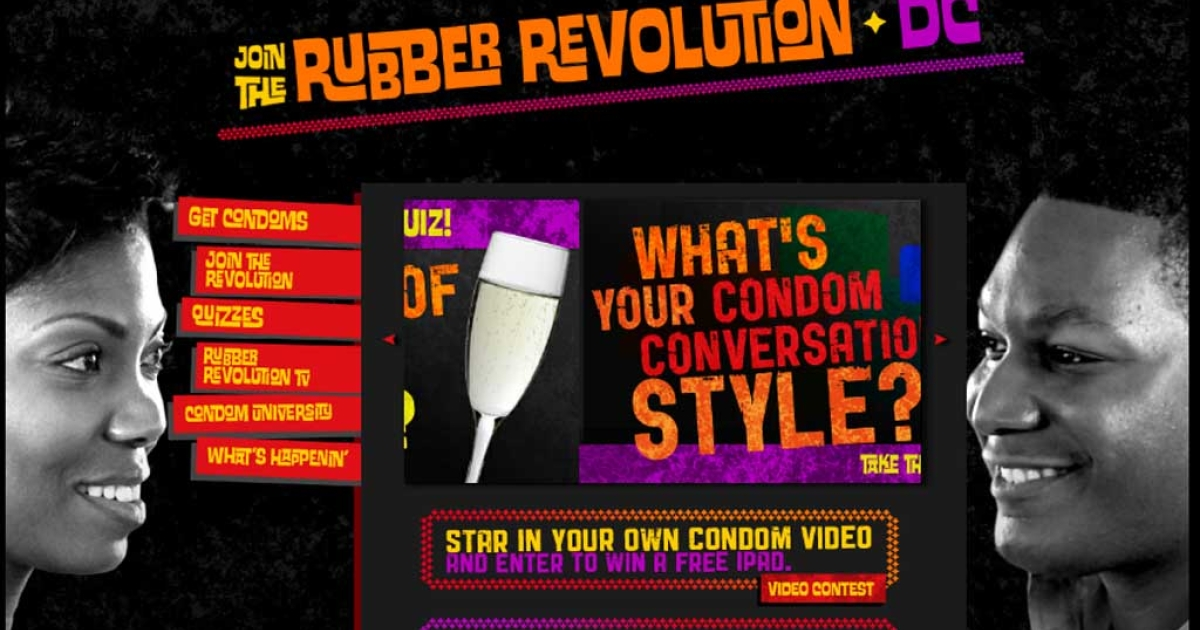 The homepage of Washington, DC's Rubber Revolution Campaign website</p>