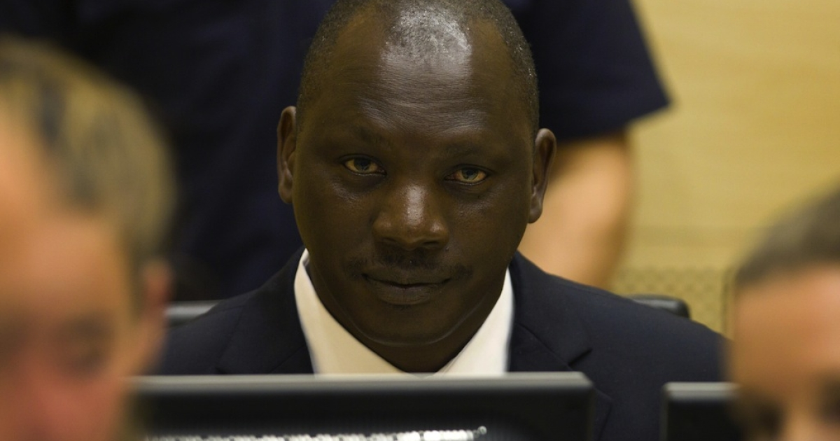 Congolese warlord Thomas Lubanga sits in the courtroom of the International Criminal Court in the Hague, on Aug. 25, 2011.</p>