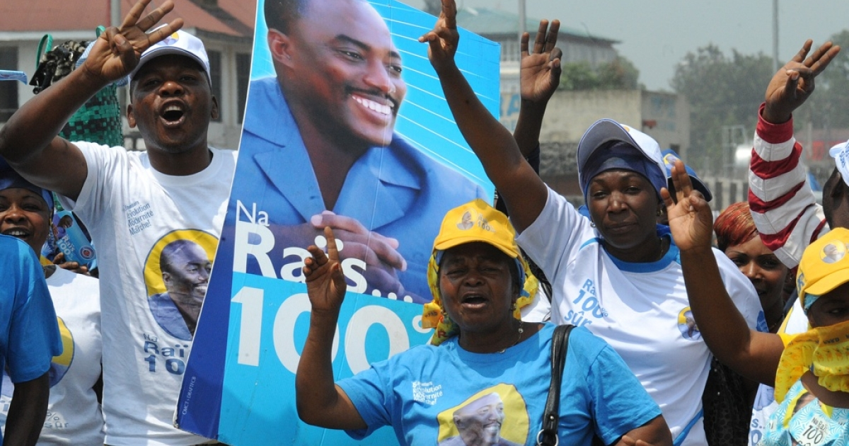 Supporters of Joseph Kabila celebrate his re-election as President of the Democratic Republic of the Congo on December 10, 2011 in Goma, eastern Congo.</p>