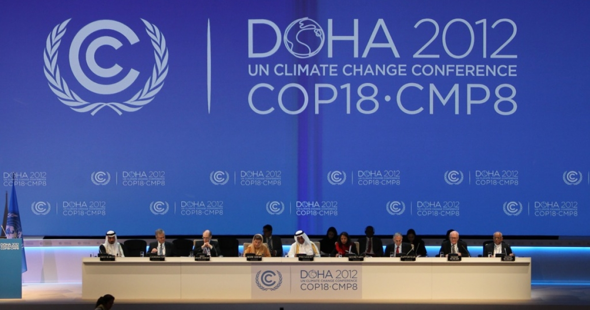 A general view shows the opening ceremony of the 18th United Nations (UN) climate change conference in Doha on November 26, 2012. Nearly 200 world nations launched a new round of talks in Doha to review commitments to cutting climate-altering greenhouse gas emissions.</p>