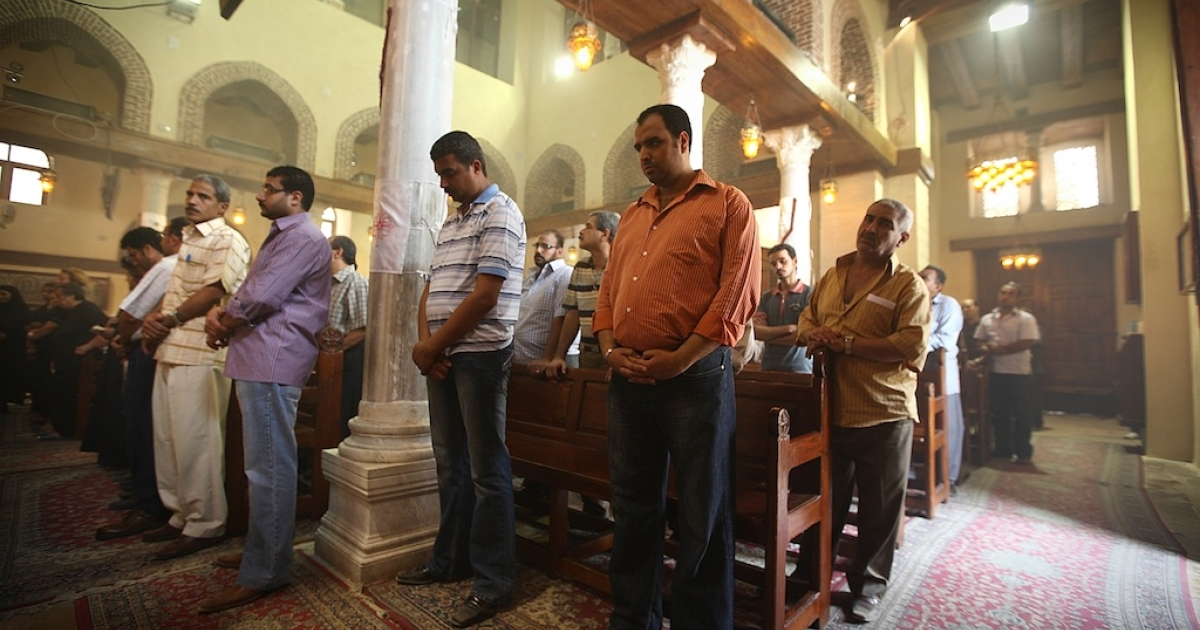 Coptic Christians attend a service in the Church of St Barbera on May 27, 2011 in Coptic Cairo, Egypt. Copts have found themselves at the center of an international crisis after a video made by an American Coptic Christian ignited violent protests across the Muslim world.</p>