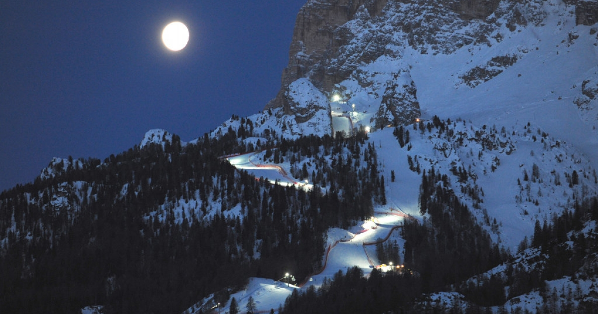 The moon shines on the Italian Dolomites above Cortina d'Ampezzo, ski resort of the Italian rich and scene of an astonishing raid by tax authorities</p>