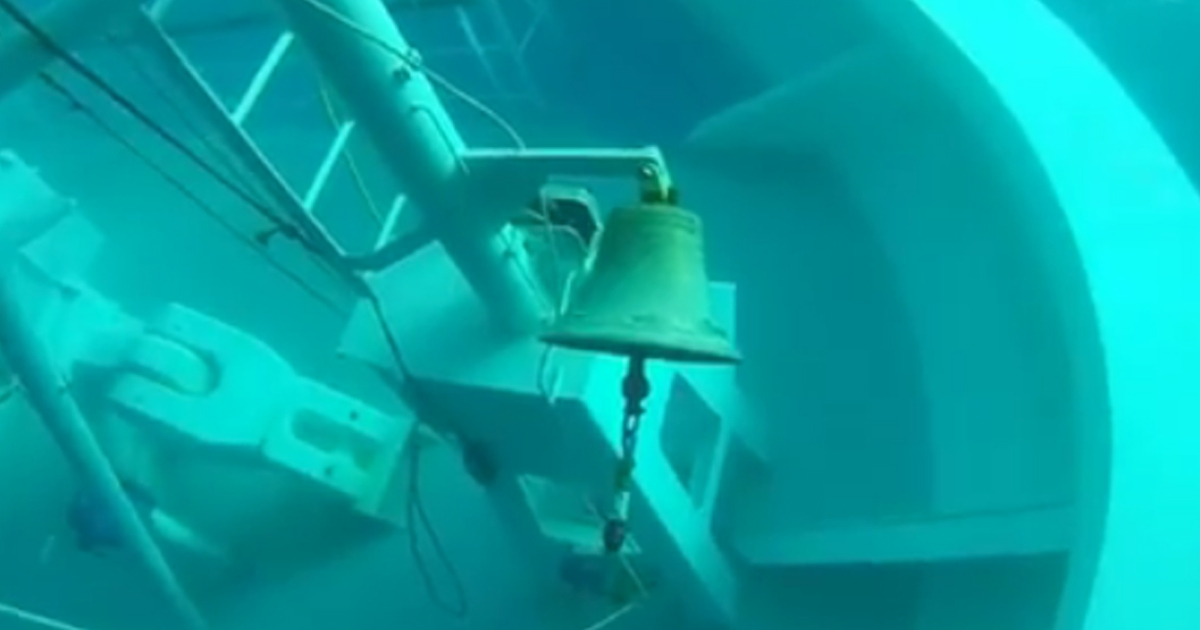 A still image taken from a YouTube video shows the bell of the stricken Costa Concordia on its submerged bow.</p>