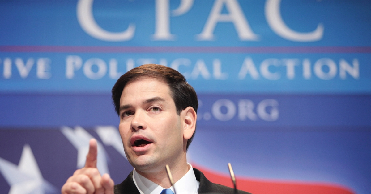 WASHINGTON - FEBRUARY 18:  Marco Rubio speaks to attendees at the annual Conservative Political Action Conference on February 18, 2010 in Washington, DC.  Rubio is a Republican candidate for the U.S. Senate in Florida.  (Photo by Robert Giroux/Getty Images)</p>