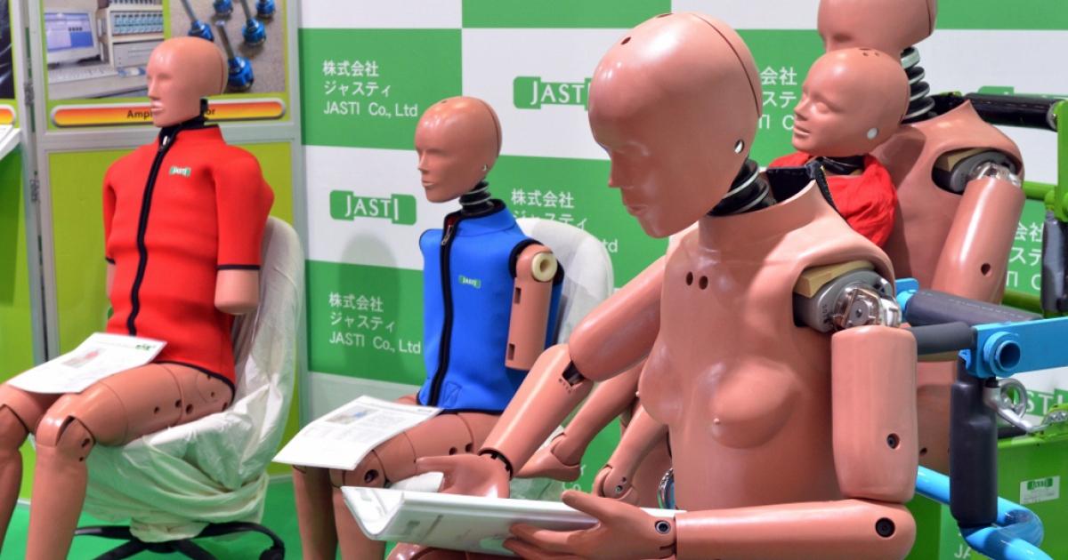 Crash test dummies on May 24, 2012 in Yokohama, Japan.</p>