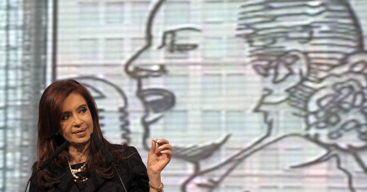 Argentine President Cristina Fernandez de Kirchner delivers a speech after the unveiling of a steel sculpture of iconic first lady Eva Peron in the northern facade of the Social Development Ministry.</p>