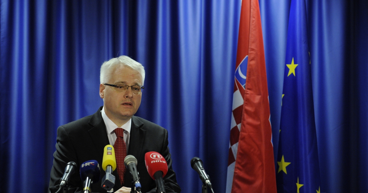Croatia President Ivo Josipovic gives a press conference after the signing of Croatia's EU accession treaty at the EU headquarters in Brussels on Dec. 9, 2011.</p>
