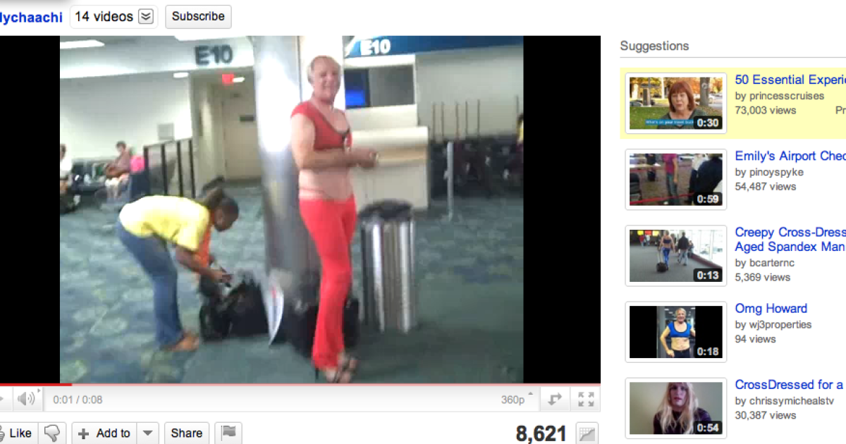 One of several videos posted on YouTube of Howard, the cross-dressing business traveler.</p>