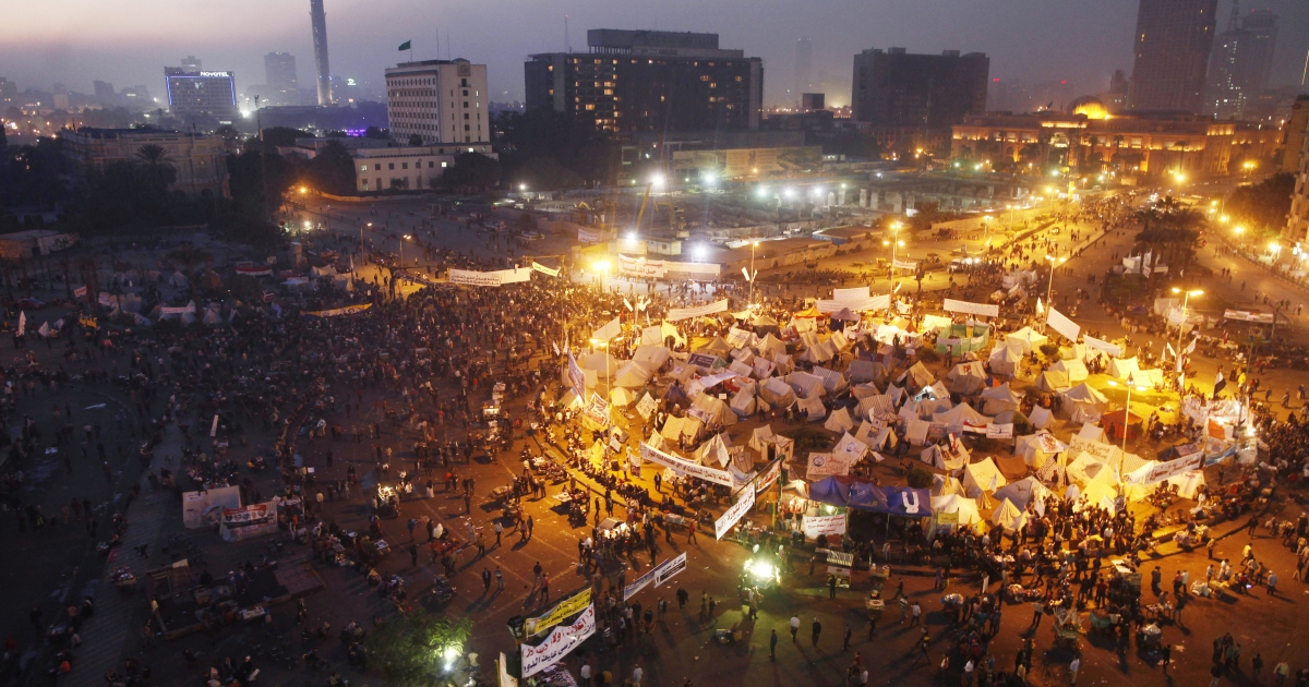 Egyptians protest a decree by President Mohamed Morsi that gave him powers above judicial review in Cairo's Tahrir Square on Dec. 1, 2012.</p>