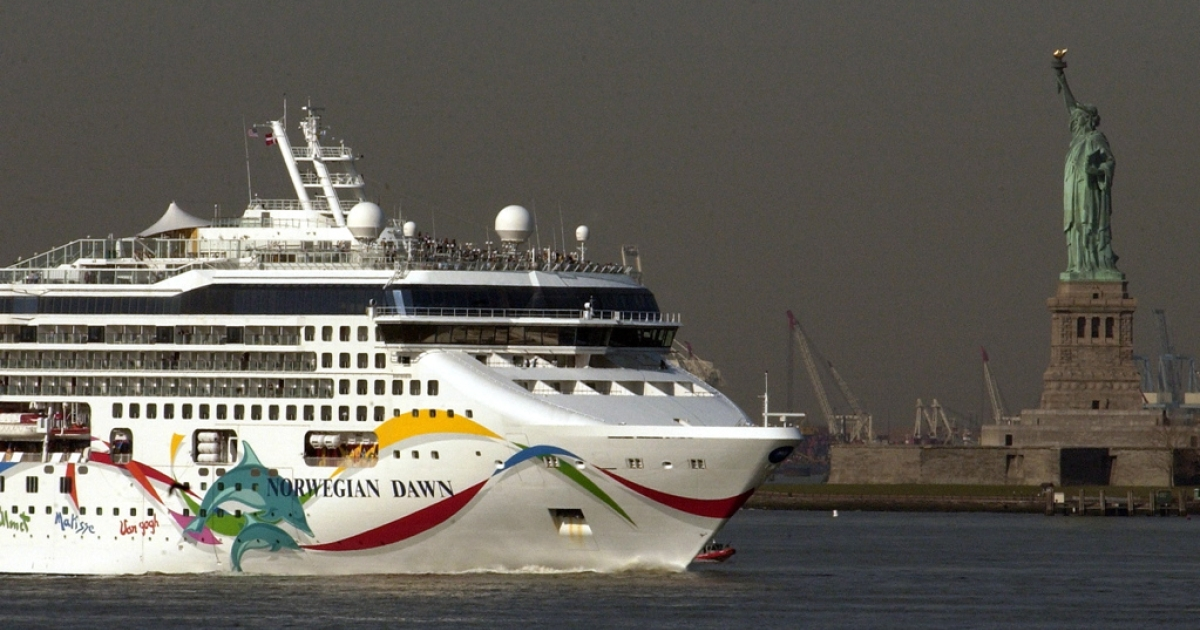 The cruise ship Norwegian Dawn arrives to New York on April 18, 2005, after making an unscheduled stop in Charleston, SC, due to a large wave that battered the ship.</p>