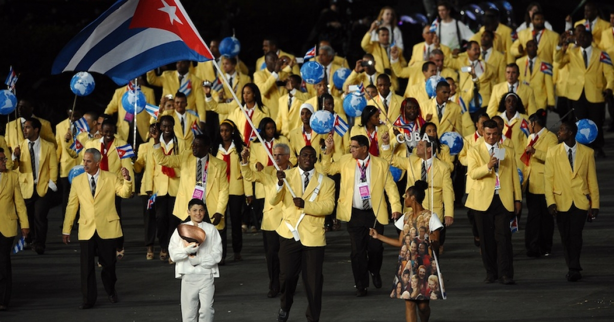 Cuba during the opening ceremony of the London 2012 Olympic Games at the Olympic Stadium on July 27, 2012 in London, England.</p>