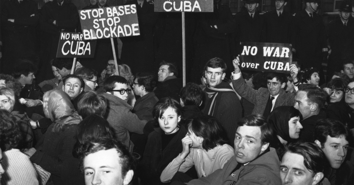 In London, protesters stage a sit-in against war over the Cuban missile crisis Oct. 24, 1962.</p>