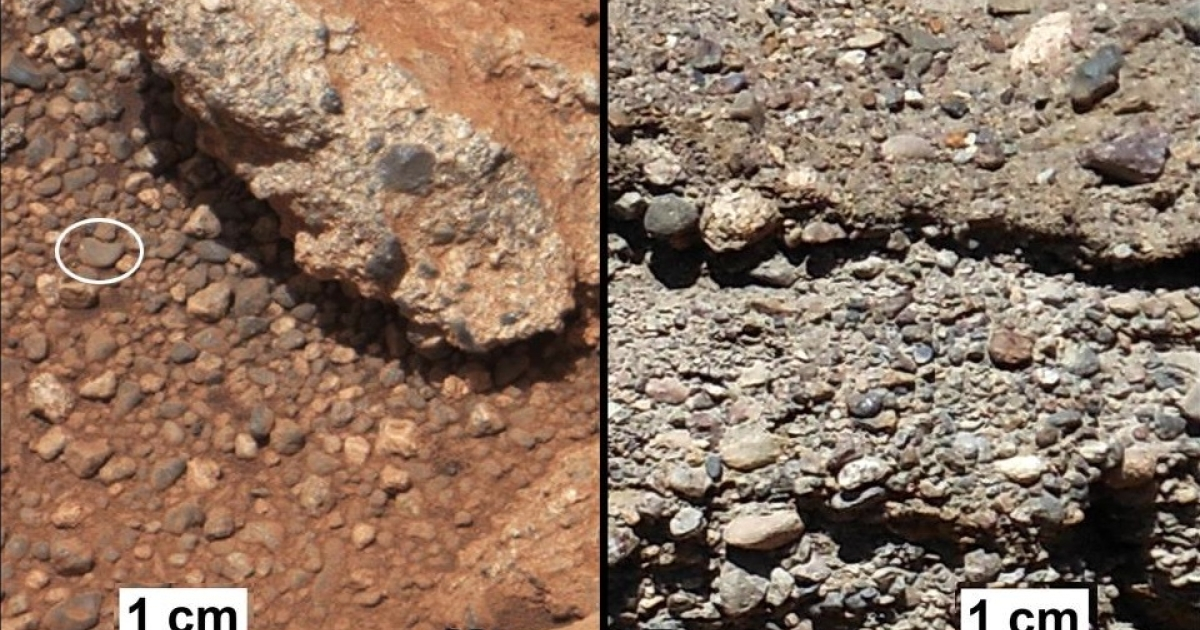 This set of images compares the Link outcrop of rocks on Mars (left) with similar rocks seen on Earth (right).</p>