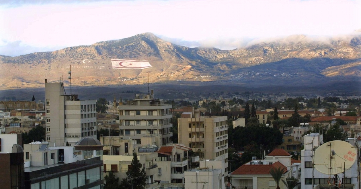 A view of the Turkish side of the divided city of Nicosia, Cyprus.</p>