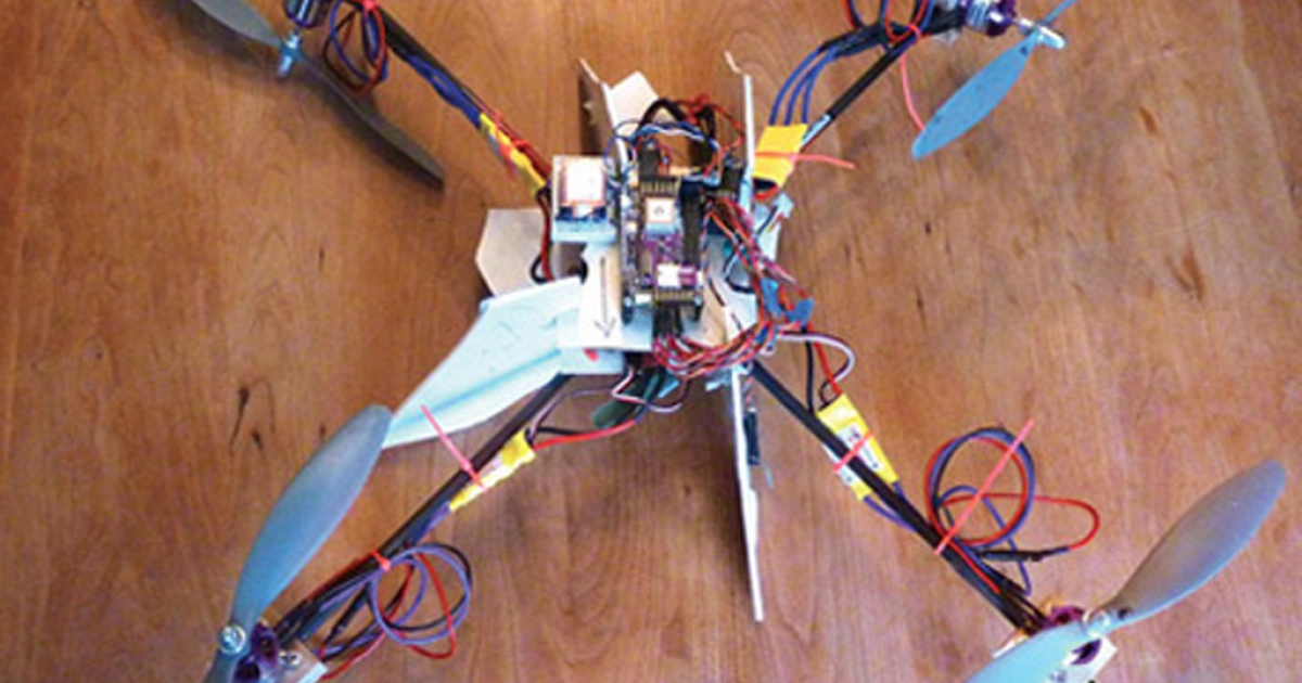 A geeky dad created a drone helicopter to follow his child to the bus stop.</p>