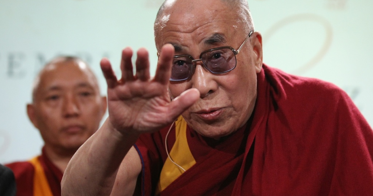 The Dalai Lama at St Paul's Cathedral in London on May 14, 2012.</p>