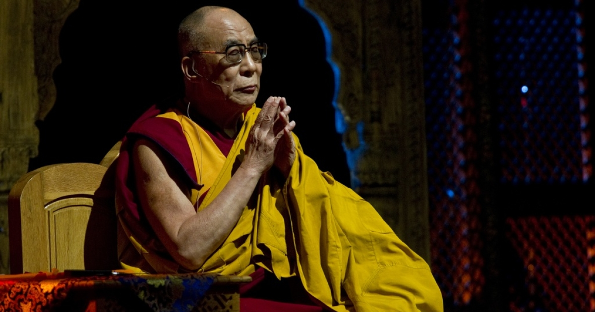 The Dalai Lama takes a moment in Mexico City.</p>