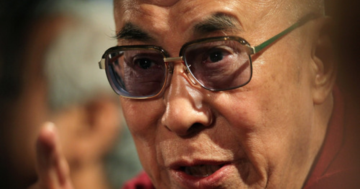 His Holiness the Dalai Lama  answers questions during a press conference following his participation in a panel discussion at the World Summit of Nobel Peace Laureates at the Chicago Symphony Orchestra Hall on April 25, 2012 in Chicago, Illinois.</p>